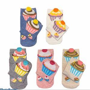 5 Pairs Cute Cupcake Socks NEW